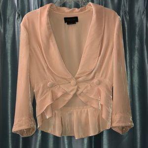 BCBG pink Velvet ruffled bottom jacket  size S